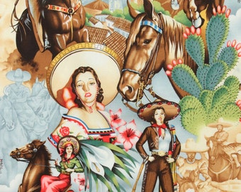 Alexander Henry Charras - Mexican Folklorico Fabric - Natural - Per 1/2 metre - 100% Cotton