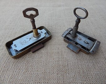 Very Vintage Cabinet Locks With Their Matching Skeleton Keys 5 Available.