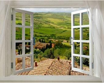 Scenic Poster Window Onto Tuscany 24x36 Italian Countryside Lush PRIZED New!