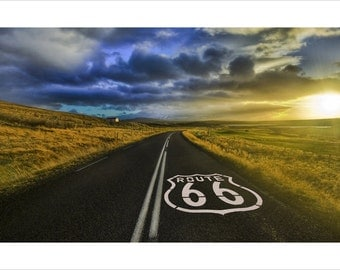 The Open Road World Famous Route 66 Poster 24x36 US Highway Chicago To L.A.