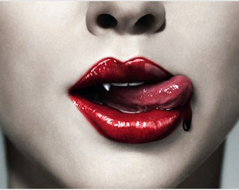 Trueblood Vampire Poster Big Lips Tongue Blood Gory Modern Messy 24x36