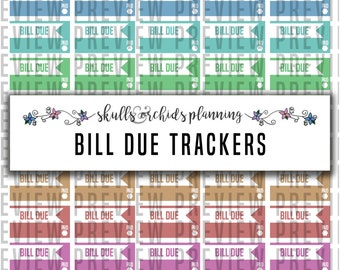 Bill Due Trackers - PRINTABLE Functional Stickers for Erin Condren, Happy Planner, etc.