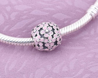 Sterling Silver Pink Daisy Bead Charm..FREE Shipping in USA