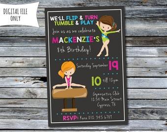 Gymnastics Birthday Invitation (Personalized) Digital Printable File