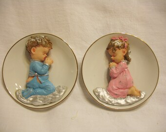 Vintage Praying Girl and Praying Boy Plates
