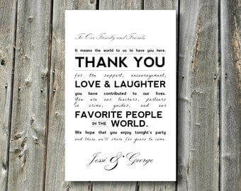 Custom Printable Wedding Thank You Reception Card for Friends and Family - Modern Typography