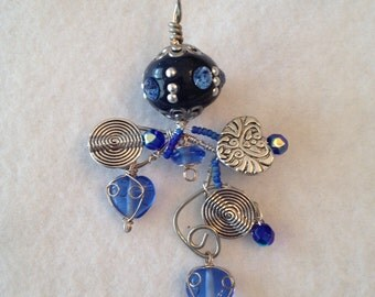 Blue and silver pendant