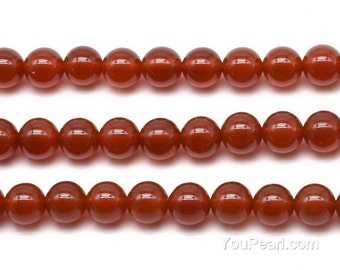 Carnelian beads, 10mm round, natural loose gemstone, smooth red agate stone beads, carnelian gem strand, beading supply, CNL2060