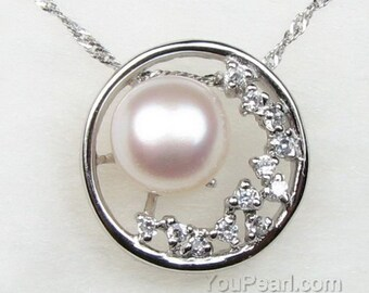 White pearl pendant. cultured freshwater pearl pendant, circle pearl crystal necklace, sterling 925 silver pearl jewelry, 9-10mm, F1430-WP