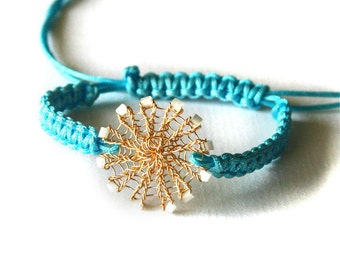 Macrame turquoise braided bracelet with wire crochet gold beaded circle, woven bracelet, bohemian bracelet