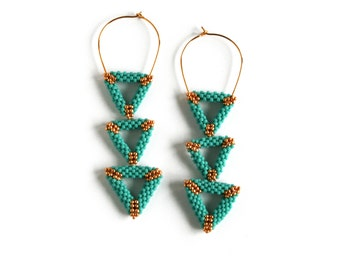 Seed Bead Triangle Earrings, Turquoize earrings, Long earrings, Dangle Earrings, Geometric Earrings
