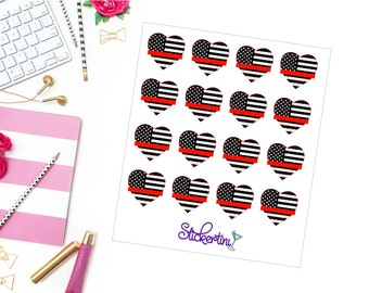 Thin Red Line Heart Stickers