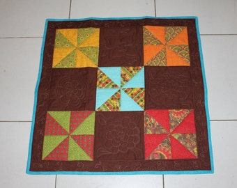 Baby Play Quilt, Autumnal colours, patchwork quilt, small quilt, lap quilt, play mat