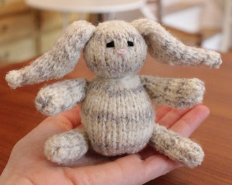 Hand Knitted White & Light Grey Bunny