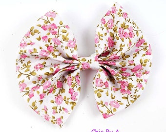 "4"" Floral Hair Bow,Cotton Hair Bow, Green,White,Pink,Hairpin, Hair Clips For Kids"
