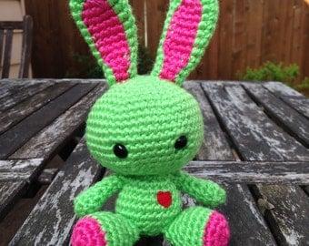 Crocheted Bunny Plush: Watermelon