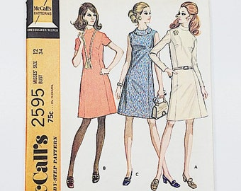 70s Party Dress   McCalls 2595 Misses Shift Dress Pattern   70s Sewing Pattern