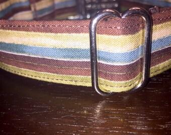 Earthy Stripes Adjustable Dog Collar