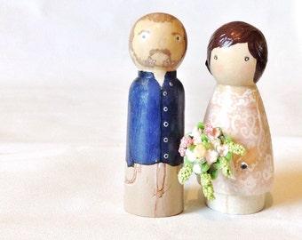 Custom wooden Peg doll Wedding Cake Topper