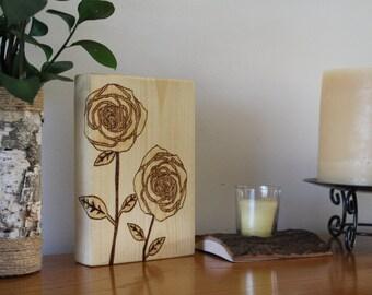Woodburned Roses