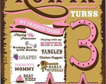 Western Cowgirl Birthday Chalkboard!