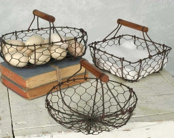 Set of 3 Farmhouse Chicken Wire Baskets