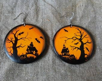 Earrings Halloween Boo.Halloween bats Medical steel. Gift for her. Painting Wood Jewelry. Painting jewelry