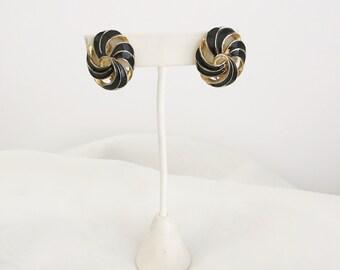 Enameled Black & Gold Earrings