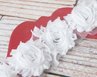 White shabby flower trim by the yard, shabby rose trim, wholesale flower trim, shabby trim, rose trim, chiffon trim, flowers by the yard
