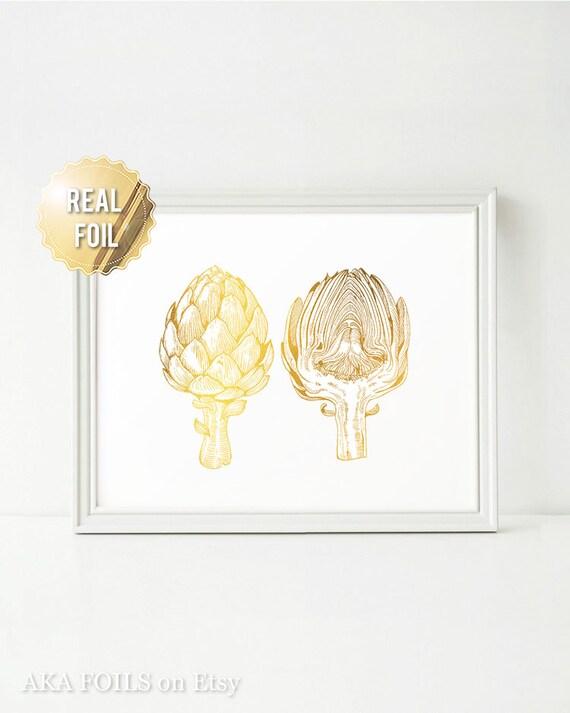 Kitchen Decor Artichoke Print - Artichoke Decor - Real Gold Foil Print - Vegetable Art - Vegan Art - Kitchen Wall Decor - Gift for Chef