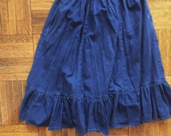 Vintage Denim Skirt with Ruffles