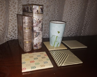Ceramic Tile Coasters: Mismatched Coasters with Cork Backing