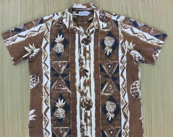 DUKE KAHANAMOKU by KAHALA Vintage Hawaiian Shirt Aloha Surf Tribal Tiki Pineapple Surfer of the Century Mens - M - Oahu Lew's Shirt Shack