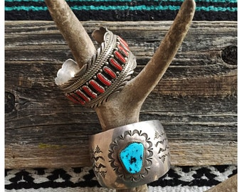 Vintage Silver & Turquoise Cuff