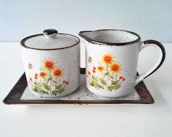 1970s Takahashi Stoneware Cream and Sugar Set with Serving Tray -