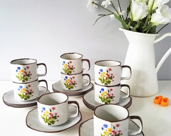 1970s Wildflower Coffee Cup and Saucer - Porcelain Wild Flower Service