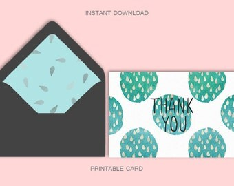 Printable thank you card, thank you card with liner, 4x6, 5x7, greeting card, digital download, downloadable thank you card