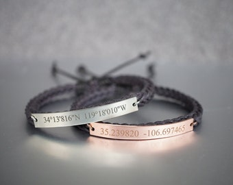 Custom Coordinates Bracelets, Matching Couple Bracelets, His and Hers, Location Engraved Bracelet, Slim Bar, Dark Brown Braided Bracelet