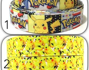 """1"""" Pokemon Ribbon, Pikachu Grosgrain Ribbon, Pokemon Grosgrain Ribbon by the yard, Pikachu Ribbon"""