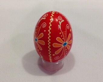 Ukrainian egg, bright red with flower design ~ handmade Pysanka ~ Ukrainian Easter eggs ~ pysanky