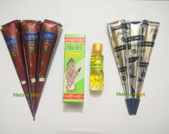 Natural Henna + Instant Black Cones + 1 Shelly Henna Oil For Brighter Output (Henna Starter Kit) Temporary Tattoo Body Art Kit