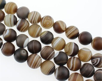 15 inch - Good quality Smooth Round wholesale brown striped agate Beads Genuine Natural Stone bead - 6mm 8mm 10mm 12mm 14mm - DC18
