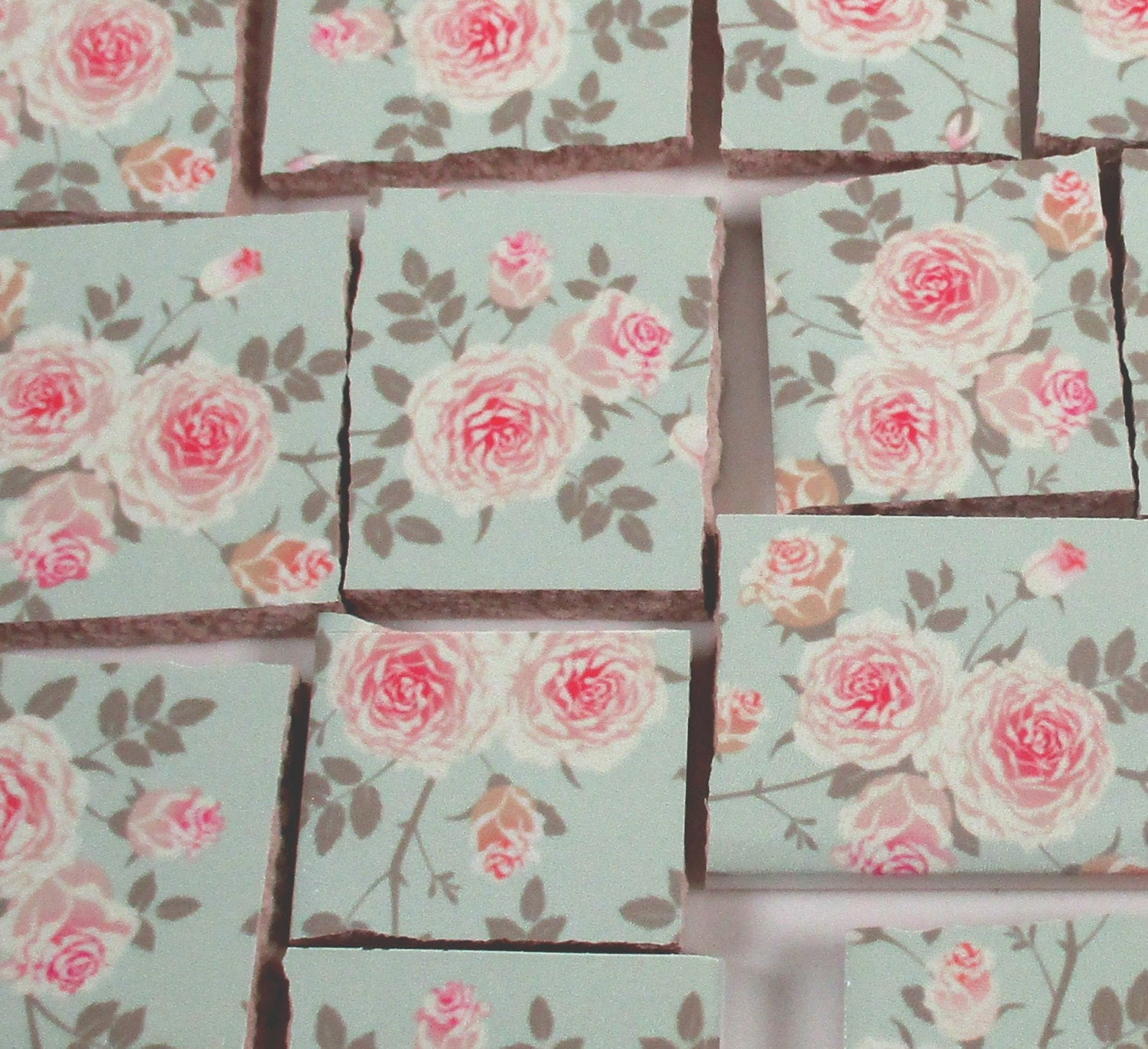 Ceramic mosaic tiles shabby chic pink roses flowers for Shabby chic wall tiles