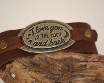 leather bracelet. Love you to the moon and back