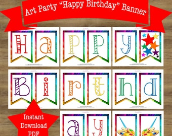 Art Party Banner; Art Birthday Party; Art Party Decoration; Art Party Printable; Paint Party Decoration; Printable Birthday Banner Printable