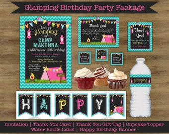 Glamping Party Printables; Glamping Birthday; Camping Party Printables; Camping Party Invitation; Camping Birthday Decorations