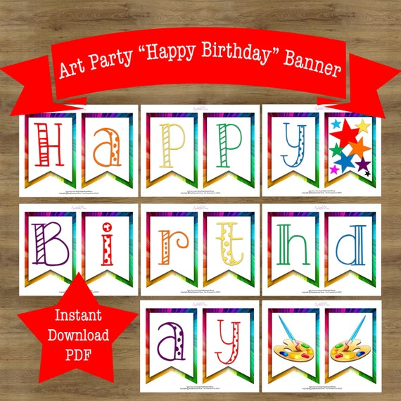Art Party Banner Art Birthday Party Art Party Decoration