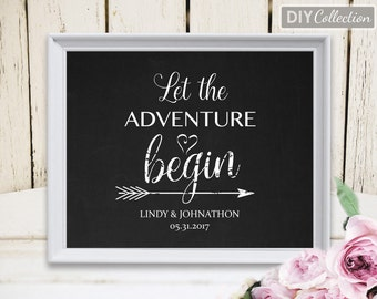 "Let the Adventure Begin sign, Printable Wedding Sign Template, 8""x10"" printable sign , Instant Download, Digital Order, GD_WS106"
