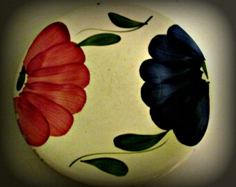 Vintage Collectible plate La Primula, Blue Red Flowers Green Leaves Italian ceramic, Pottery, Floral Design