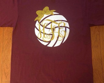 Volleyball Monogram Shirt with Bow. Volleyball Shirt with Vine Monogram and Bow. Monogram Volleyball Shirt. Volleyball Shirt.